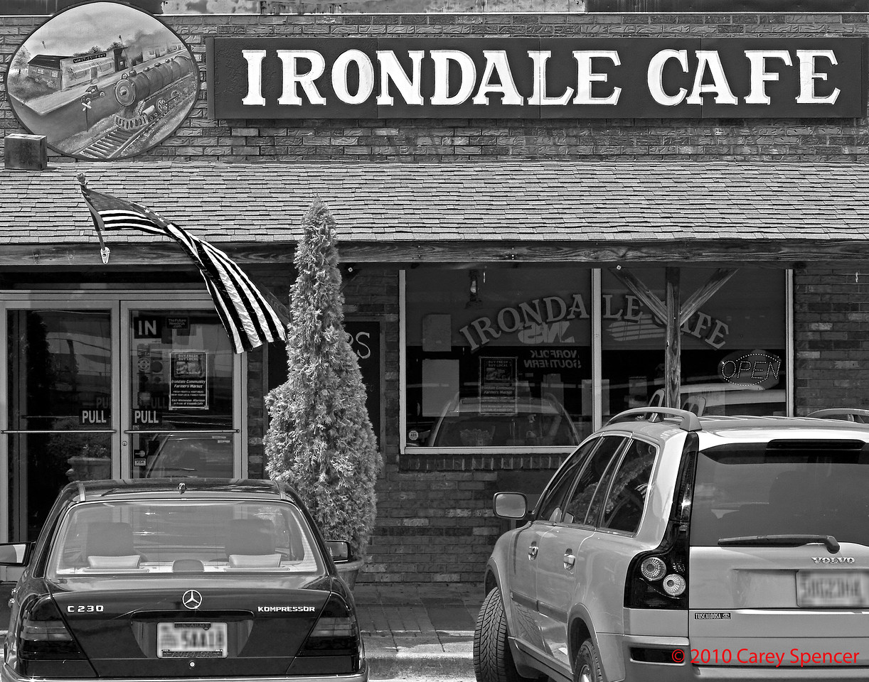 "Irondale Cafe in Irondale, Alabama.  Made famous by Fannie Flag (Bess Fortenberry's niece) in her book ""Fried Green Tomatoes"" and the movie by the same name.  Bess Fortenberry purchased the ""Stand"" restaurant in 1932 and named it Irondale Cafe.  Although under new ownership, some cooks remain and hundreds of lbs of fried green tomatoes are served weekly along with many of the traditional menu items."