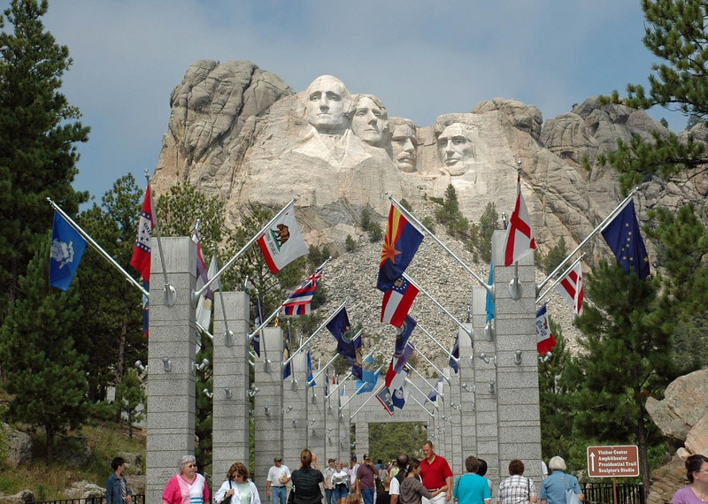 Mt. Rushmore with Flags