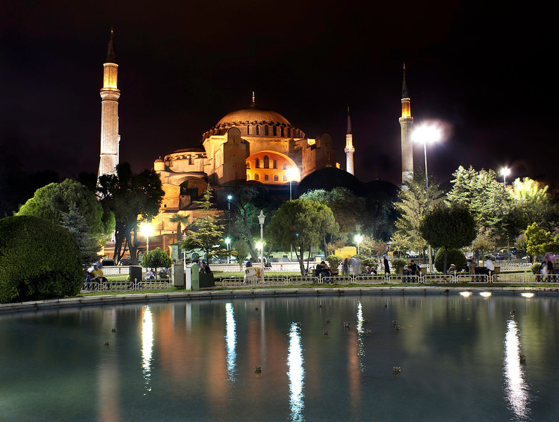 Night view of the Sultan Ahmed Mosque (Turkish: Sultanahmet Camii) which is the national mosque of Turkey, and is a historical mosque in Istanbul, the largest city in Turkey and the capital of the Ottoman Empire.
