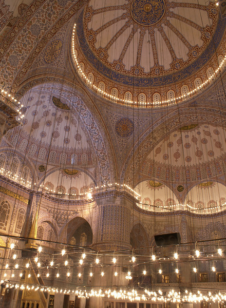 Interior view of the Sultan Ahmed Mosque (Turkish: Sultanahmet Camii) which is the national mosque of Turkey, and is a historical mosque in Istanbul, the largest city in Turkey and the capital of the Ottoman Empire.