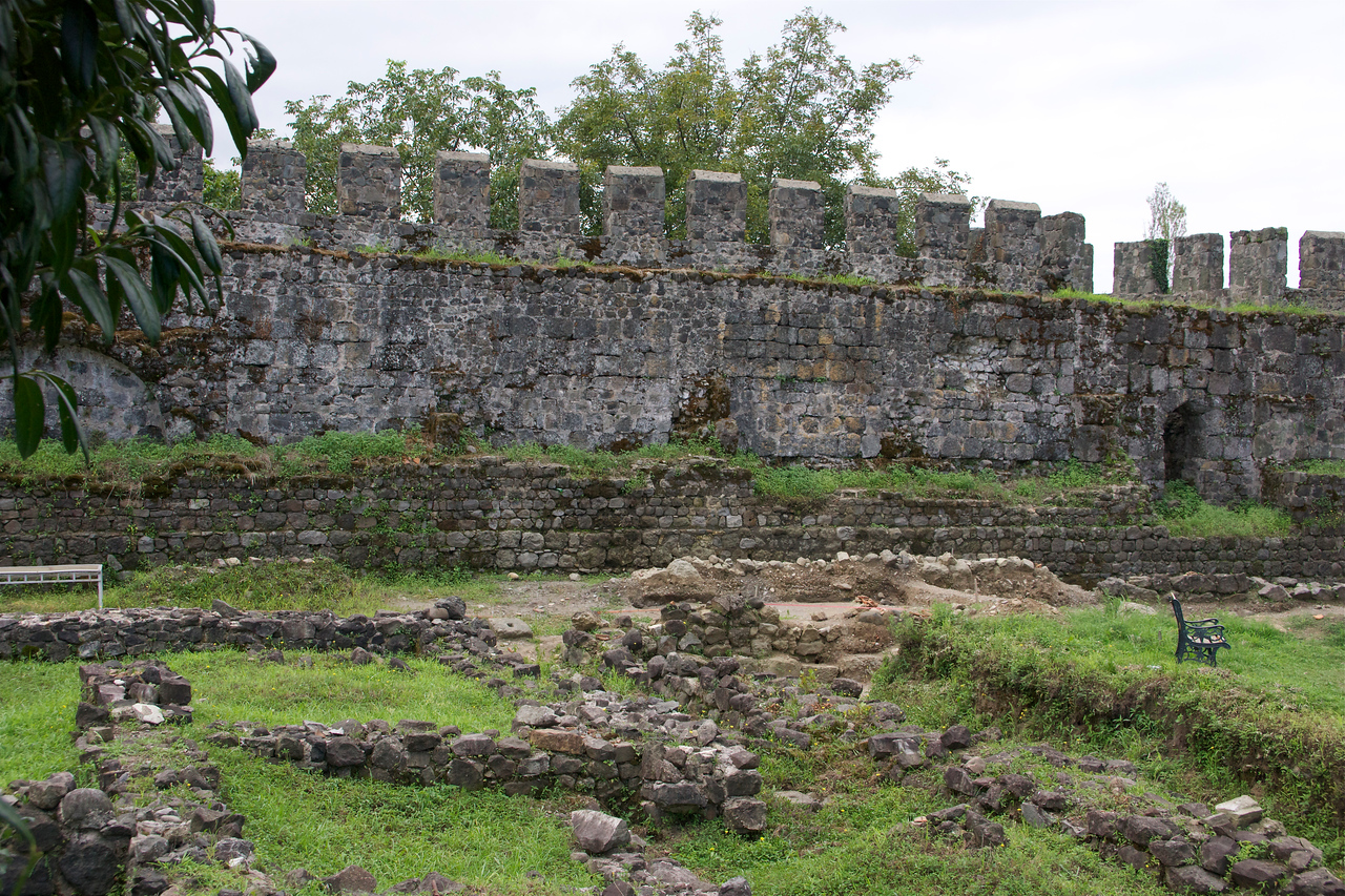 Gonio-Apsaros (a Byzantine castle Ten miles south of town with a crenelated wall which now guards a courtyard of citrus trees) and the detritus of stone Roman waterworks (scattered under a magnolia tree).  Read more: http://www.virtualtourist.com/travel/Middle_East/Georgia/Batumi-1719718/Things_To_Do-Batumi-TG-C-1.html#ixzz25PUiBQYj.  The grave of Saint Matthias, one of the twelve apostles, is believed to be inside the Gonio fortress. However, this is unverifiable as the Georgian government currently prohibits digging near the supposed gravesite. Other archaeological excavations are however taking place on the grounds of the fortress, focusing on Roman layers. http://en.wikipedia.org/wiki/Gonio  _DSC4818