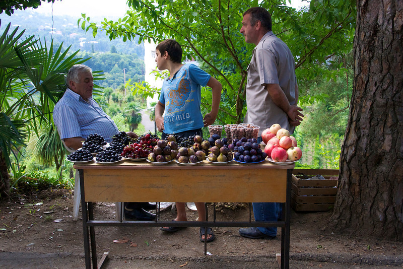 Local fruit stand at upper entrance to Batumi Botanical Garden., Batumi, Georgia.  _DSC4837