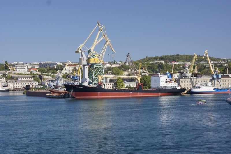 Large ship and cranes in Sevastopol harbor, Ukraine. _DSC4402