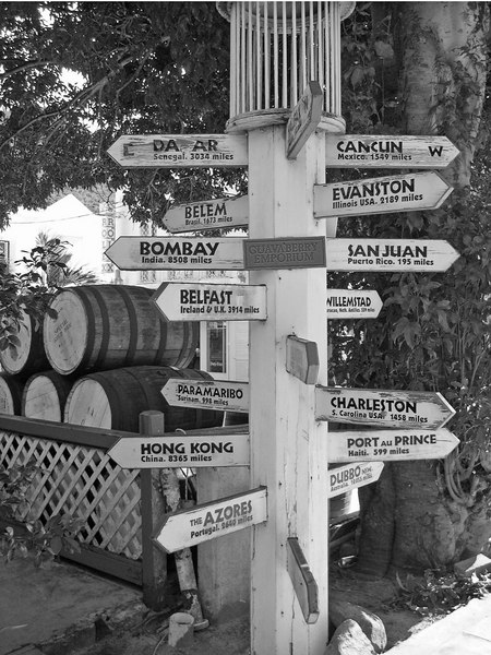 Signs direct to other islands and tropical destinations and distance - St. Maarten - N.A.