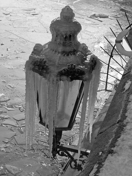 Old lamp in Stare Meso covered in Ice, Prague, Czec Republic