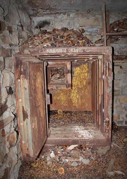Blanco Coal Co. #3 mine SW of Blanco. This safe was in what was left of an old building.