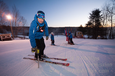 Race coaches set up course for Interclub race held at Blandford Ski Area on January 15, 2012