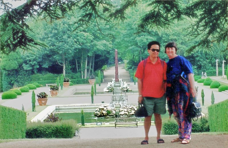 Tuan and Gill Water Gardens Blenheim Palace England - Jul 1996