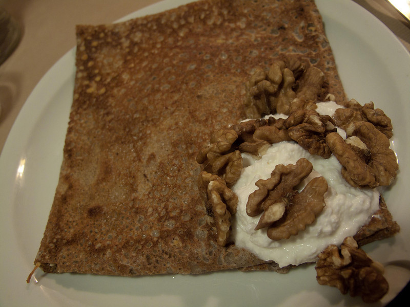 Four-cheese crépe with walnuts. Yum. The blue blended in very nicely.