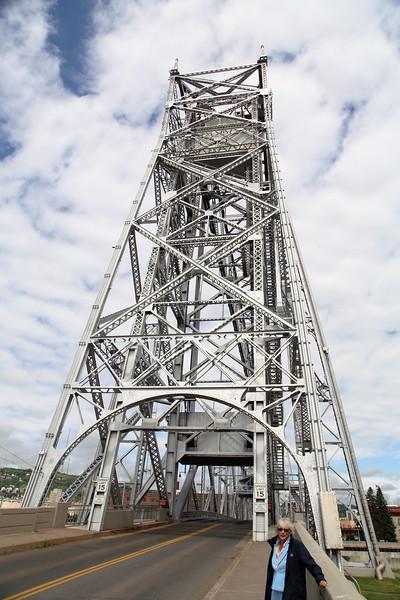 We walk across the Iconic Lift Bridge...