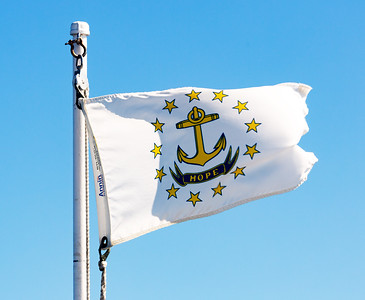 The Grande Mariner flies the Rhode Island state flag.