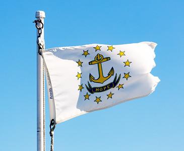 The Grande Mariner flies the Rhode Island state flag.