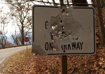 Shotgun sign, Blue Ridge Parkway