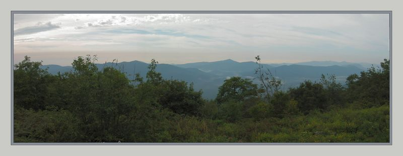 00aFavorite View of mountains from our deck at Pisgah Inn [panoramic, borders]