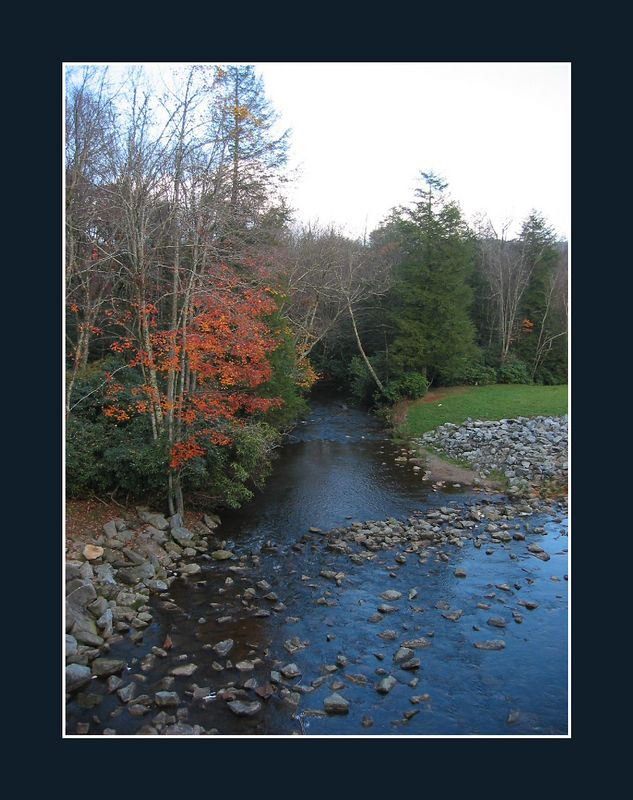 00aFavorite Evening autumn view of a creek off Blue Ridge Parkway near Blowing Rock [borders]