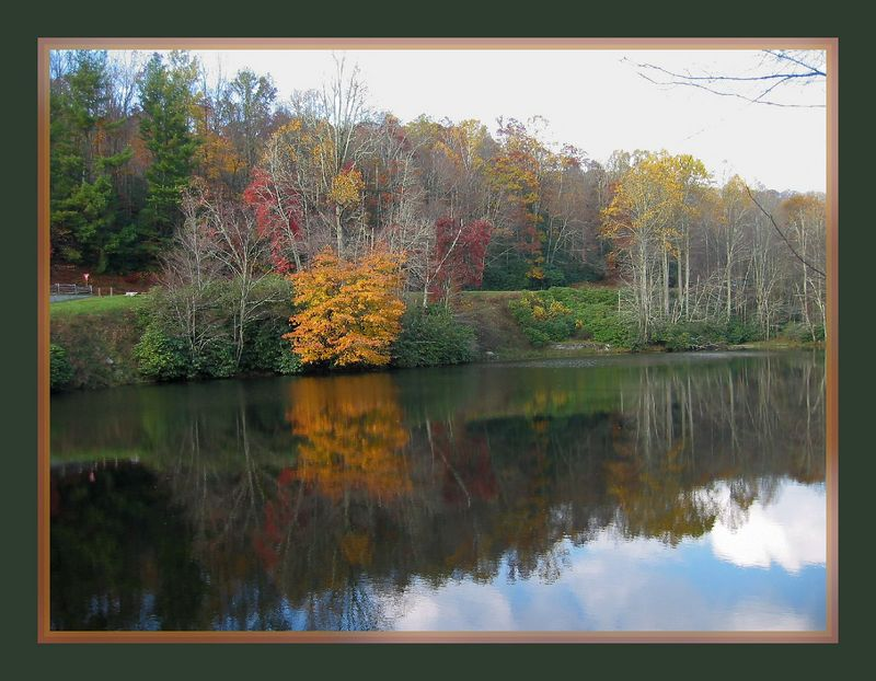 Fall scene in reflective pond near Price Lake 2 [borders with soft focus, borders]