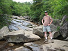 That same day, we hiked in the Graveyard Fields area. Here I am next to a waterfall.