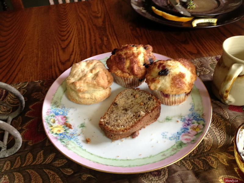 Forgive the poor quality of the iPhone shots ... unfortunately this was taken after we gorged ourselves on these delicacies...<br /> Home made muffins, scones, and Banana bread ... warm ...<br /> The food was so delicious that I had to eat it before I could take a photo.<br /> The omelettes, bacon, pancakes, hash browns, sausage were all incredibly good.<br /> The coffee was fabulous.<br /> The food I would rate on a scale of 1 to 10 as a 12!