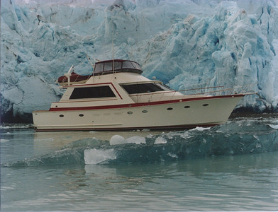 Lady Lee  in front of Reid Glacier,  Reid Inlet, Glacier Bay, Alaska. May 5, 1993