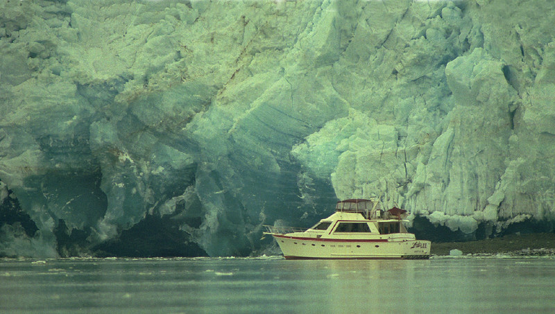 Lady Lee  in front of Reid Glacier,  Reid Inlet, Glacier Bay, Alaska. May 5, 1993