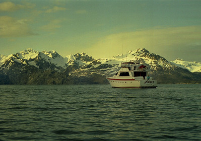 Lady Lee anchored in Blue Mouse Cove, Glacier Bay, Alaska. May 3, 1993