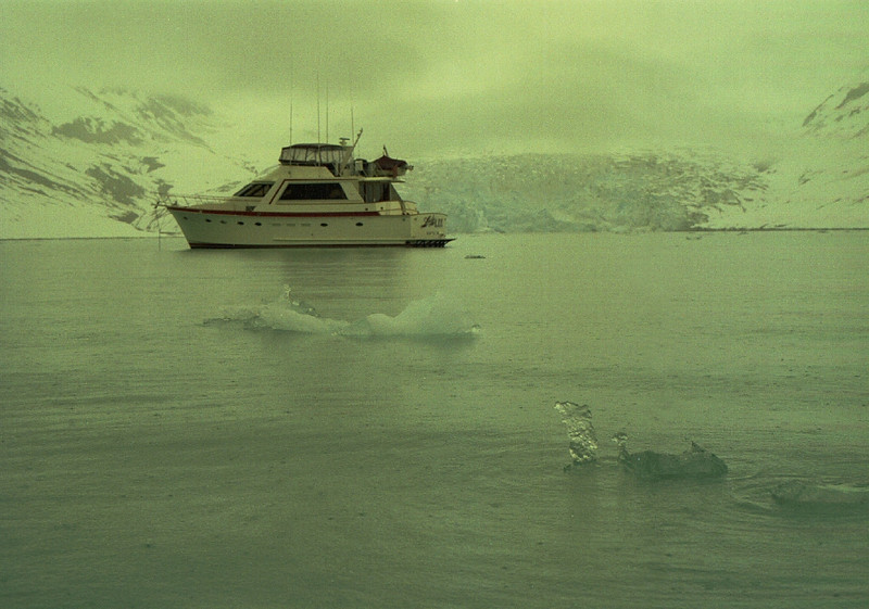 Lady Lee anchored in Reid Inlet, Glacier Bay, Alaska. May 4, 1993