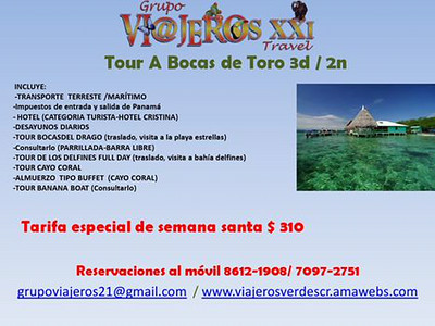 VISA RUNS Grupo Viajeros Follow · Wednesday, February 20, 2013 at 4:38pm    Amigos vi@jeros aprovechen la semana santa en Bocas de Toro; Paquete VIP Casi Todo Incluido; nos quedan pocos espacios. Reservaciones al móvil 8612-1908; www.viajerosverdescr.amawebs.com Friends vi@jeros take advantage of the Holy week in Bocas de Toro; All-inclusive VIP almost; few spaces remain. Reservations to the mobile 8612-1908;  https://www.facebook.com/grupo.viajeros
