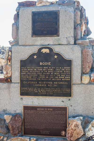 Historical marker at Bodie