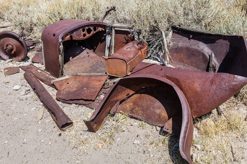 Remains of an old car, I'm sure someones prized possession at one time