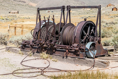 Old heavy machinery stands idle but you can just imagine it in action