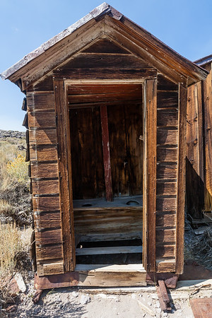 Two holer.  Old outhouse in Bodie