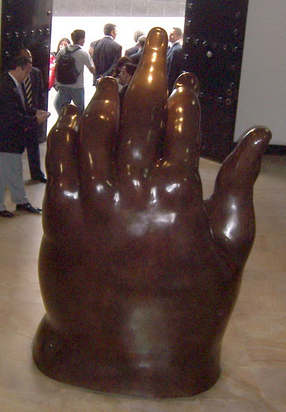 Museo Botero.  Giant sculpture of a hand.