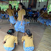 Children perform the Tinikling folk dance at the entertainment station along the Loboc River in Bohol island, Philippines.