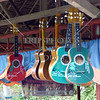 Guitars on display at the entertainment station along the  Loboc River in Bohol island, Philippines.