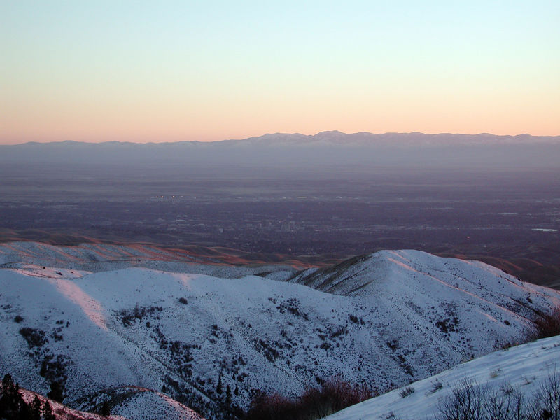 Taken on the way back to Boise from the Bogus Basin Ski area on February 9, 2006,  Boise can be seen in the distance.