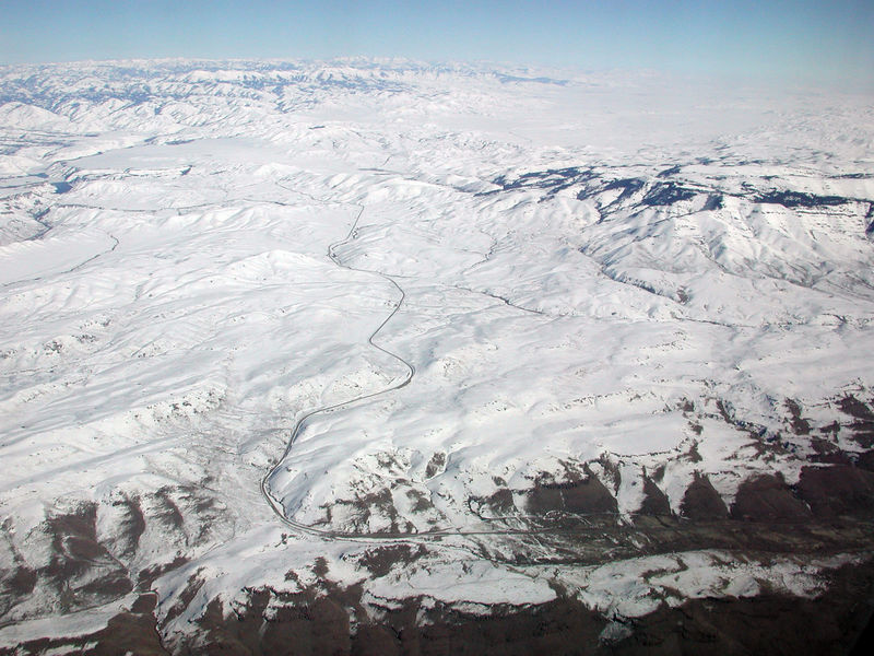 I took this image on the flight back from Boise, ID on February 10, 2006. I wonder where the road goes...