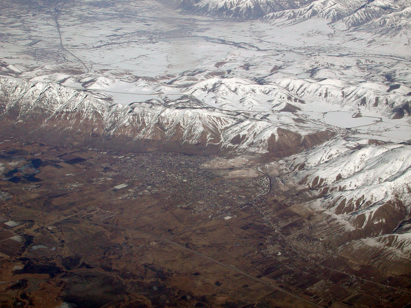 I took this image on the flight back from Boise, ID on February 10, 2006.  Any ideas what city this is?  Our pilot wasn't very good about telling us where we were so I have no idea.