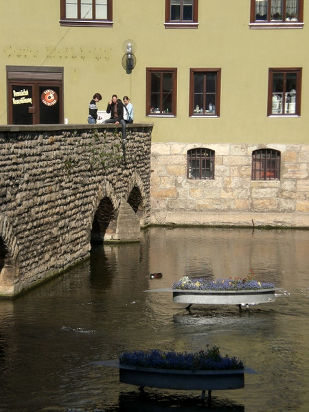 The little boats of flowers in the river in Erfurt are promoting a garden show.