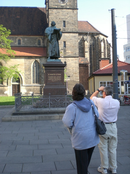 A statue of Martin Luther in Erfurt, where he was a monk in the Augustinerkloster from 1505 to 1508.