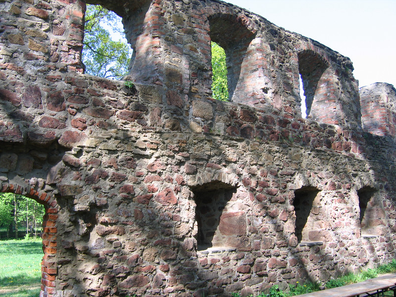 The monastery was two stories. Animal skins were used to cover the windows.