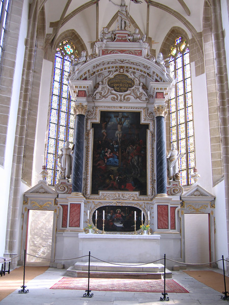 The original altar at St. Mary's, the city church. St. Mary's was originally a Roman Catholic church, but was converted in the Reformation.