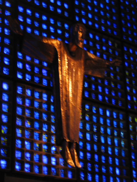 Close-up of the cross in the Kaiser-Wilhelm Memorial Church.