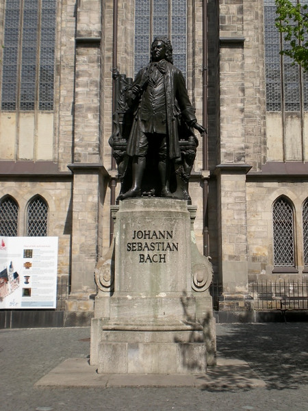 The great composer, outside the Thomaskirche in Leipzig, where he worked for so many years.