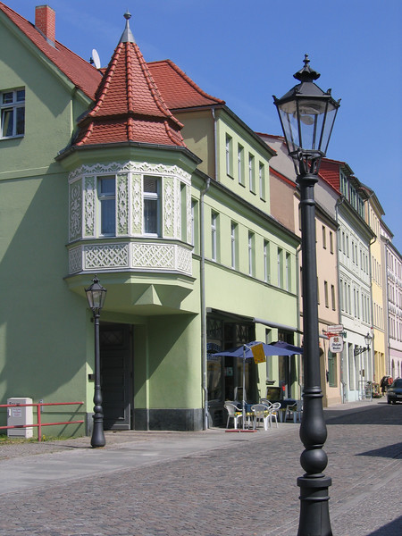 A quaint street scene in Wittenberg.