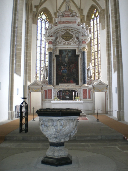 Inside St. Mary's Church in Torgau, where Katie von Bora Luther is buried.