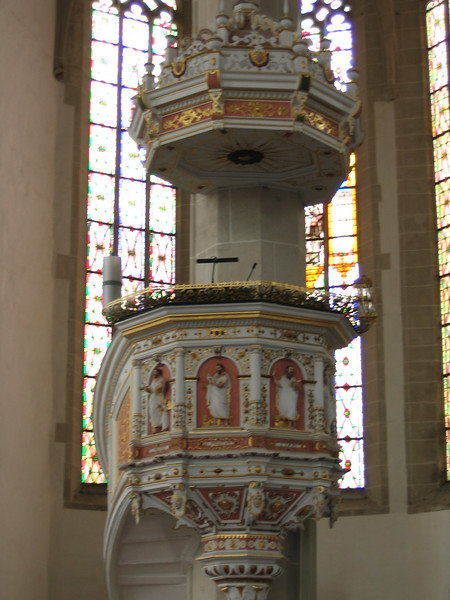 The ornate pulpit at St. Mary's.