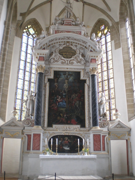 The high altar in St. Mary's Church where Katie von Bora Luther is buried.