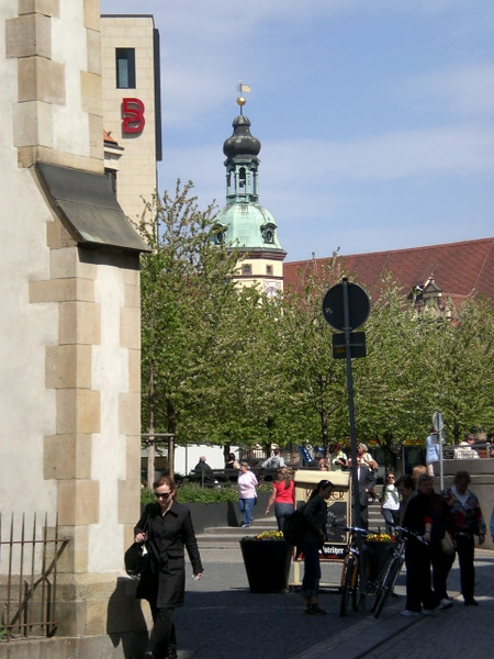 Staff member Beth McBride comes around the corner of the Thomaskirche.