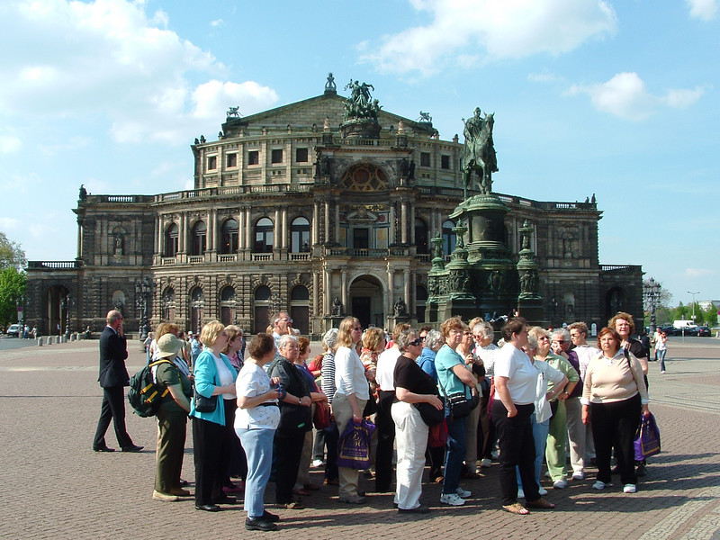 In front of the Opera House in Dresden, looking at the cathedral across the street.