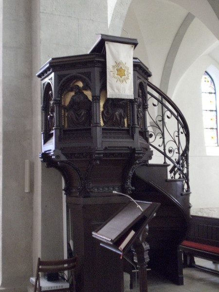 The pulpit in the Frauenkirche in Grimma.